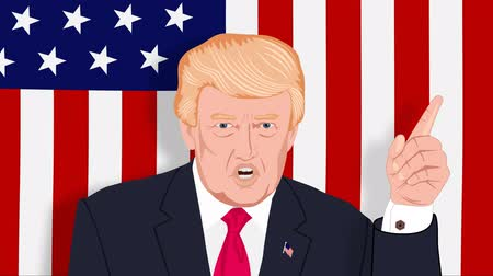 ameaça : Donald Trump speaks and threatens with American flag. Cartoon. Seamless looping Stock Footage