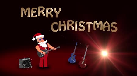 świety mikołaj : Bad Santa Claus rock star plays guitar. 2d animation.