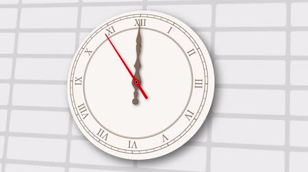 Animated vintage light clock on brick wall background. Last 10 seconds to 12 oclock. Wideo