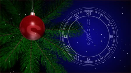 ticking : 2019 New Years toy on a Christmas tree. Vintage white outline clock. Last 10 seconds to 12 oclock. 4K stock footage