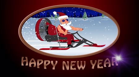 Happy New Year. Bad Santa Claus on a aerosleigh rides with gifts