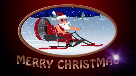 caracteres : Merry Christmas. Bad Santa Claus on a aerosleigh rides with gifts Stock Footage