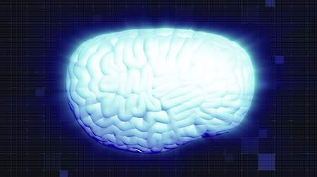 medical scan : Human brain rotation, shine effect. Light blue aura. Full HD deep blue background