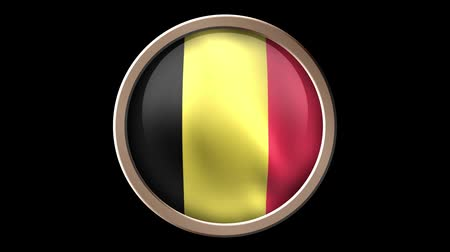 çıkartmalar : Animated Belgium flag button isolated on black. Seamless looping