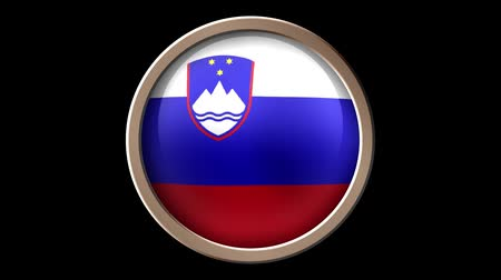 demokratický : Animated Slovenia flag button isolated on black. Seamless looping