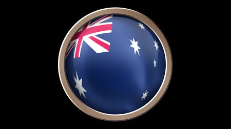 demokratický : Australia flag button isolated on black. Animated Australia flag on the button. Seamless looping