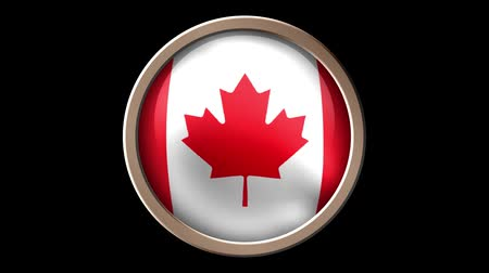 demokratický : Canada flag button isolated on black. Animated Canada flag on the button. Seamless looping