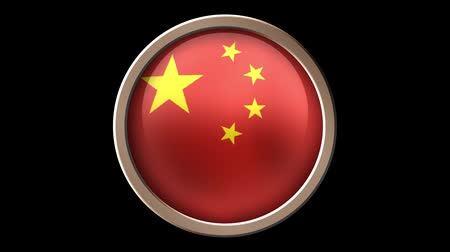 çıkartmalar : China flag button isolated on black. Animated China flag on the button. Seamless looping Stok Video