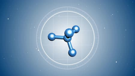 movimentar se : 3D Animation of abstract molecule. Located at the center. Futuristic view into the microscope. 3D rendered animation. Blue digital background.