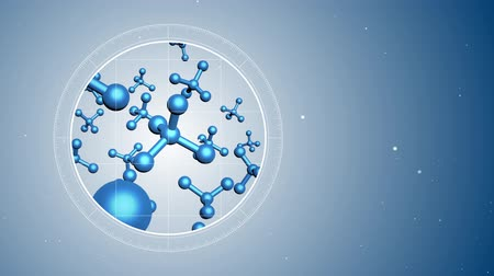 atomic model : 3D Animation of abstract molecules. Located on the left. Futuristic view into the microscope. 3D rendered animation. Blue digital background.