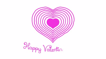 Happy Valentines Day. Magenta Heart Drawing. Strokes are drawn around the heart in a clockwise direction. Wiggle animation.