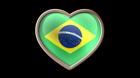 Brazil flag heart isolated on black luma matte. Patriotism Wideo