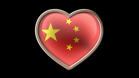 China flag heart isolated on black luma matte. Patriotism Wideo