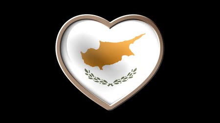 Cyprus flag heart isolated on black luma matte. Patriotism Wideo