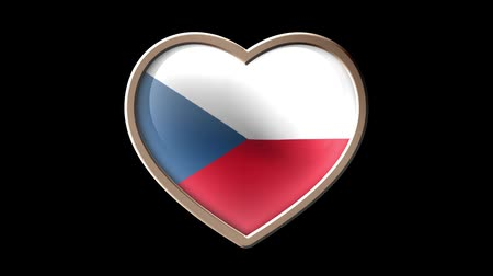 Czech flag heart isolated on black luma matte. Patriotism Wideo