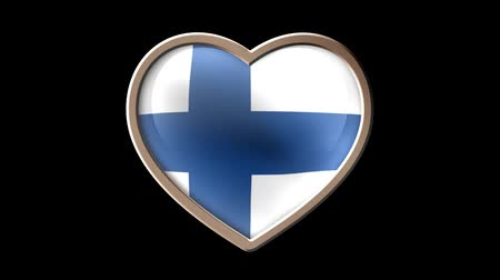Finland flag heart isolated on black luma matte. Patriotism Wideo