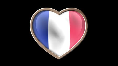 plain : France flag heart isolated on black luma matte. Patriotism Stock Footage