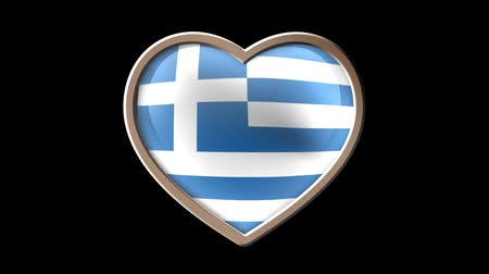 Greece flag heart isolated on black luma matte. Patriotism Wideo