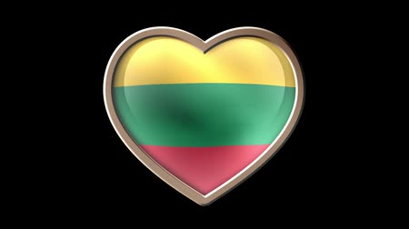 nişanlar : Lithuania flag heart isolated on black luma matte. Patriotism Stok Video