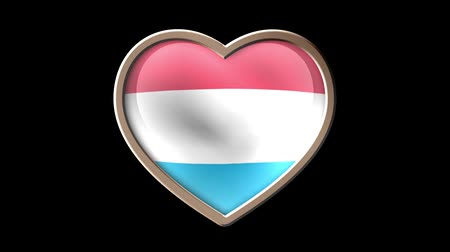 Luxembourg flag heart isolated on black luma matte. Patriotism Wideo