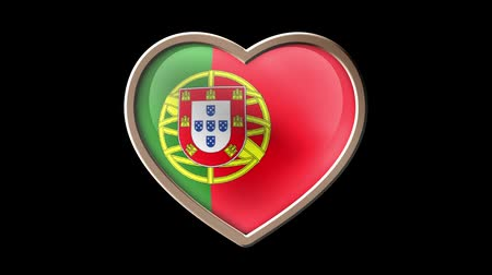 Portugal flag heart isolated on black luma matte. Patriotism Wideo