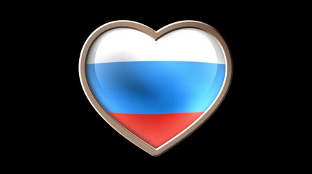 demokratický : Russian flag heart isolated on black luma matte. Patriotism