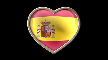 países : Spain flag heart isolated on black luma matte. Patriotism