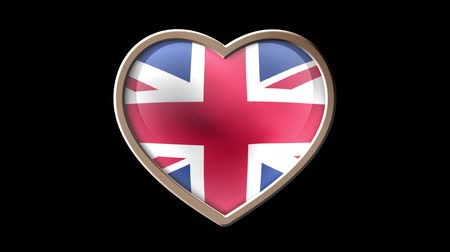 scudo araldico : United Kingdom flag heart isolated on black luma matte. Patriotism