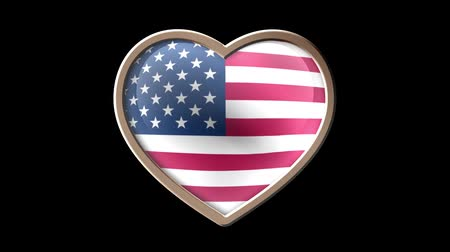 demokratický : USA flag heart isolated on black luma matte. Patriotism