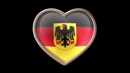 Germany flag heart isolated on black luma matte. Patriotism Wideo