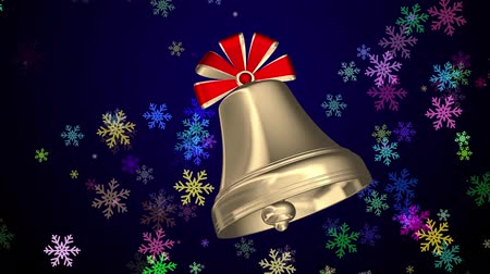 двойной : Golden Christmas bell with red ribbons Стоковые видеозаписи
