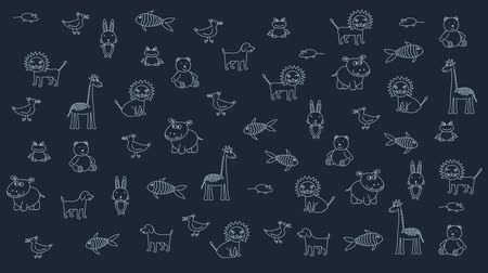 hippo : Animated doodle animals, kid dark background. Substrate for titles, and other content. Design element Stock Footage