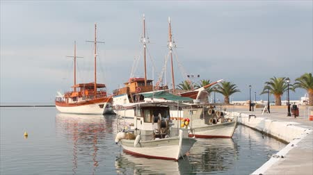 ryba : port with fishing boat and sailboat