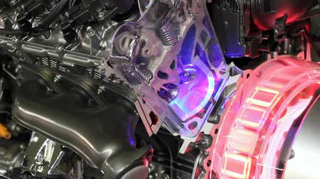 melez : futuristic hybrid car engine  Stok Video