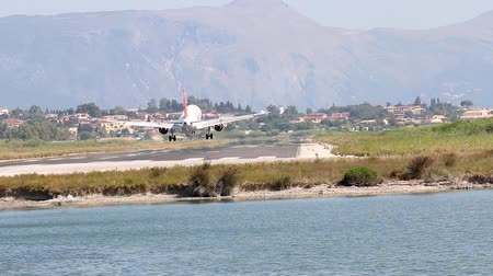 letadlo : airplane landing at airport Corfu Greece