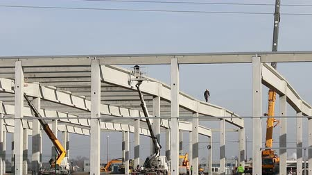 steel : new factory construction site Stock Footage