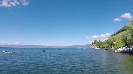 ohrid : Jovan Kaneo church Lake Ohrid landscape Stock Footage