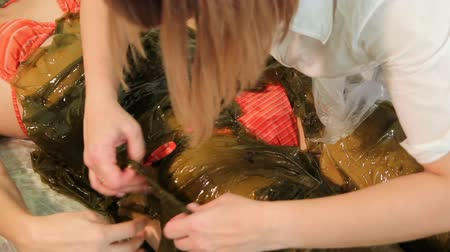 gençleştirme : Seaweed spa. Seaweed wrap. Woman the cosmetologist displays seaweed on a body of the beautiful girl. Anti-aging therapy. Rejuvenescence. Close-up Stok Video
