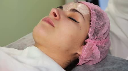 mezoterapia : The young womans face during the procedure closeup. Innovative cosmetic procedure. Medical procedure rejuvenation.