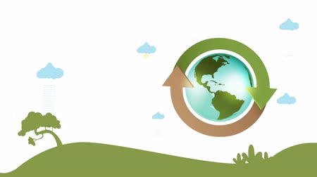 reciclagem : Save the World Green City Animation for Presentation Template. Vídeos