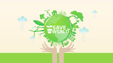 neve : Save the World Green City Animation for Presentation Template. Stock Footage