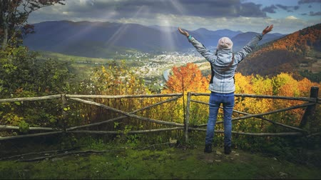 fenómeno : Young woman standing on the edge of the cliff and raising her hands up against mountain range and bright colorful autumn forest shining in sun rays. Success and travel concept. Toning filter. Full HD Stock Footage