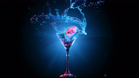 speck : Bright modern cocktail with lemon falling in glass, splashing water on dark background. Blue and red color mixed light. Drops, bokeh and glare moves on the frame. Frozen in motion. Slow motion 4K