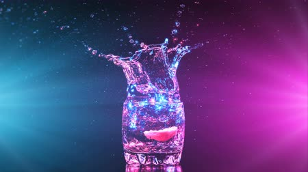 wódka : Bright cocktail with lemon in glass, splashing water on dark background. The object is illuminated from two sides, blue and pink color. Drops and glare movement. Frozen in motion. 4K Parallax Effect