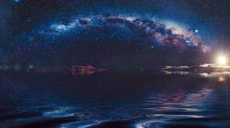 astro : Milky Way in Antarctica on Vernadsky Station. Thousand of stars reflected in ocean. Water waves motion. Night scene. Beauty world, travel, holidays. Nature landscape. 3D render. Slow motion 4K footage Stock Footage