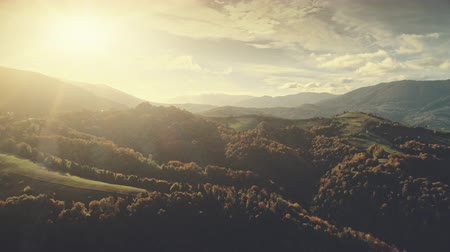 Soft Sunlight Mountain Land Scenery Aerial View. Epic Wild Nature Sun Flare Panoramic Forest Overview. Cloud Sky Horizon Outdoor Scene Environment Concept Hill Meadow Drone Flight Footage 4K (UHD)