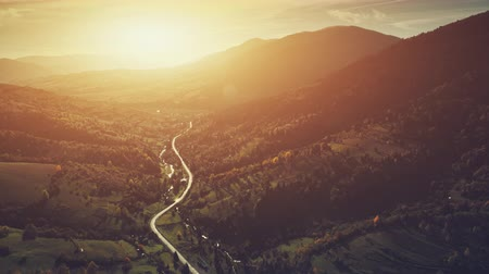 Aerial Sunset Mountain Road, Countryside Canyon Landscape. Majestic Coniferous Evergreen Forest, Wildlife Nature. Clean Ecology Eco Tourism Concept. Orange Toning Filter. Drone Flight Footage 4K (UHD)