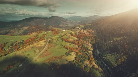 Autumn Multi Colored Mountain Landscape Aerial View. High Hill Tree Forest Scenery, Cloudy Sky. Green Slope Surface Countryside Village. Clean Ecology, Travel Concept. Drone Flight Footage 4K (UHD)