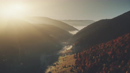 High Mountain Sunrise Foggy Gorge Aerial View. Hill Bottom Countryside Village Sight Overview. Wild Nature Forestry Slope Soft Sunlight Eco Friendly Environment Concept Drone Flight Footage 4K (UHD)