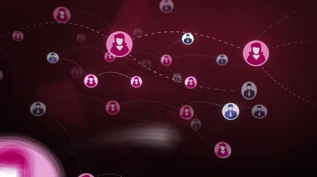 сеть : Social network gender users, sms, messages, media concept, pink dark background with animated links